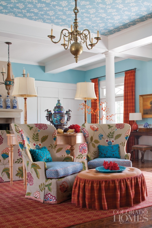 Orange and blue sitting room